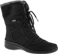 ara Magaly 48523 in Black Synthetic Suede. The Magaly is a waterproof lace-up mid calf boot with faux fur trim, and suede upper. #footwear #ara #shoes #midcalfboots