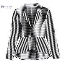 Fashion Lady Women Lapel Long Sleeve Front Button Asymmetric Hem Striped Slim Jacket Blazer 10(China (Mainland))