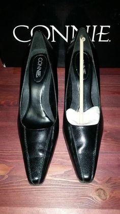 Black Leather Classic High Heels Pumps Comfortable Sz 6.5 M Connie Solid Black #Connie #PumpsClassics #Career