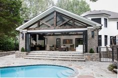 Backyard Plan, Backyard Pool Landscaping, Backyard Patio Designs, Barn Pool, Living Pool, Pool House Designs, Pool House Plans, Best Modern House Design, Backyard Pavilion