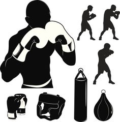 Box and boxing Fighting Drawing, Art Of Fighting, Boxing Gloves Drawing, Boxing Tattoos, Sharpie Tattoos, Silhouette Vector, Sports Art, Aikido, Vector Stock