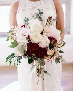 Brides bouquet, large , lush, loose , blush peonies, burgundy roses, white