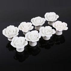 8 Pomos tiradores para Cajones Armarios Manilla de Cerámica Forma de Rosa Blanca