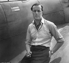 War heroes: Squadron Leader M L Robinson of No 609 Squadron RAF sits on the wing of his Hawker Hurricane at RAF Biggin Hill in 1941 for a relaxed portrait picture by  Cecil Beaton. (rw)