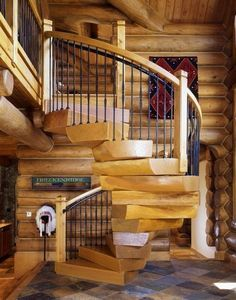 Edgewood Custom Log Homes - I have always wanted a place with a spiral staircase Log Home Kits, Log Cabin Kits, Log Cabin Homes, Log Cabins, Rustic Cabins, Wooden Staircase Design, Wooden Staircases, Spiral Staircases, Staircase Ideas