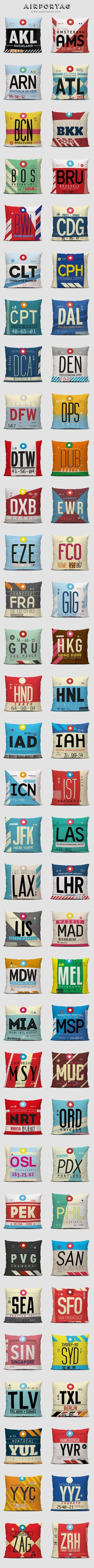 Throw pillows inspired on vintage travel luggage tags using airport IATA codes. www.airportag.com: