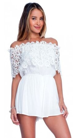 BohoPink - Lush Just A Dream Lace Off The Shoulder White Romper, $49.00 (http://www.bohopink.com/lush-just-a-dream-lace-off-the-shoulder-white-romper/)