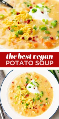 """This easy Vegan Potato Soup is ready fast on the stovetop and is ultra comforting! It's so creamy with no dairy needed, and is perfect topped with vegan sour cream, """"bacon"""" bits, chives and vegan cheese. Healthy Potato Soup, Creamy Potato Soup, Healthy Potatoes, Potato Soup Vegetarian, Easy Veggie Soup, Vegan Dinner Recipes, Whole Food Recipes, Vegetarian Recipes, Dip Recipes"""