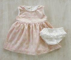 Little Girl Cotton Silk Dress Set Baby Pastel Pink by Melimebaby