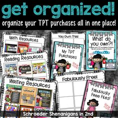 Organize your TPT purchases, clip art, fonts AND MORE all in one place! This editable file helps keep all you own from TPT organized and in one place! :)
