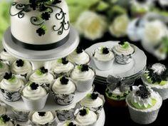 Green, black & white cupcakes