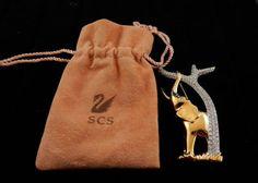 Swarovski-Elephant-Tree-Pin-Brooch-with-In-Original-Bag-1993-1994