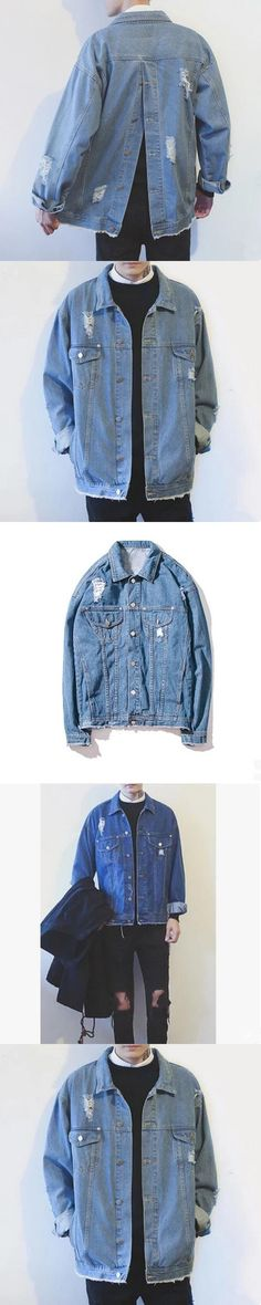 2017 new PLUS size drop shoulder mens coat denim jacket casual coats ripped destroyed design fashion casual clothing