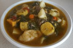 Bouyon bef or Haitian beef stew is a hardy traditional stew cooked through out H. - Bouyon bef or Haitian beef stew is a hardy traditional stew cooked through out Haiti. Soup Joumou, Hatian Food, Haitian Food Recipes, Caribbean Recipes, Caribbean Food, Island Food, International Recipes, Soups And Stews, Beef Stews