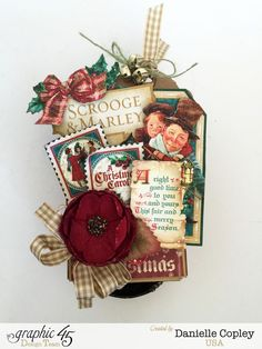 Pop Up Christmas Box, Christmas Carol, by Danielle Copley, product by Graphic 45, Tutorial #graphic45