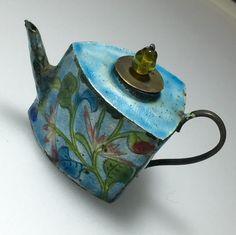 Antique Chinese Enamel Copper Cloisonne Mini Teapot by 88AsianAntiques on Etsy