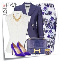A fashion look from June 2013 featuring sleeveless shirts, blue jackets y pencil skirt. Browse and shop related looks.