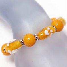 Paw Prints Bracelet Glass Stretch Orange White Clemson University Football Games #DavenportDesigns #Stretch