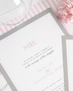 Gray and pink wedding invitation with modern monogram - http://www.shineweddinginvitations.com/wedding-invitations/modern-initials-wedding-invitations  gray wedding invitations, wedding monogram, wedding invitation initials, pink and gray