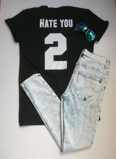 HATE YOU 2 number tshirt by sillyteez on Etsy #whitetshirt #tshirt #tshirts #text #quotes #texttshirt #quotestshirt #fashion #style #clothing #tumblrfashion #tumblr #gift #gifts #giftideas #giftideasforher #giftidea #white #black #blackandwhite #minimal #bandw #b&w