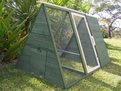 Chicken Coop - Rabbit Hutch. SOMERZBY LODGE. Chook Tractor. Galvanised mesh wire. Easy to move for one person - On wheels. Green water based non toxic stain, white trim. Door to sleeping area can open and close from the outside.   eBay!
