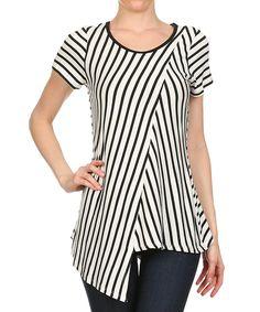 One Fashion White & Black Layered Asymmetrical Top   zulily
