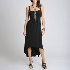 @Overstock - This beautifully detailed black dress by R & M Richards features an on-trend high-low cut and attached deco fringe necklace. The airy skirt of this elegant dress is topped with a gathered bodice, empire waist, and sleeveless cut.http://www.overstock.com/Clothing-Shoes/R-M-Richards-Womens-Black-High-low-Dress-with-Necklace/7894711/product.html?CID=214117 $53.99