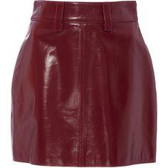 Eleanor Balfour Lola Leather Miniskirt ($795) ❤ liked on Polyvore featuring skirts, mini skirts, bottoms, pink, leather mini skirts, wet look mini skirt, leather skirts and short mini skirts