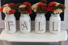 Fall Mason Jar Vases - I'm making these, so cute and this blog has the instructions.  I love fall.