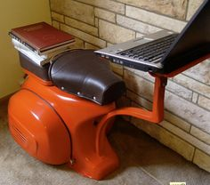 Upcycle Us: Computer station and Lounge chair upcycled from a Vespa