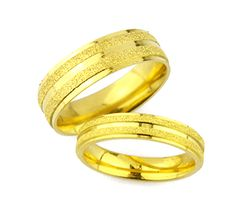 Frosted Two Tone Gold Plated Titanium Wedding Bands Wedding