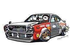 "car illustration ""crazy car art"" jdm japanese old school ""TE37"" original characters ""mame mame rock"" / © ozizo ""ROCK'N ROLL"" Line theme ""Crazy Car Art"" Line themes ""Crazy Car Art"" Line stickers ""Crazy car Art"" Telegram stickers"
