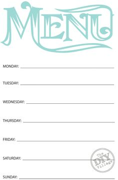 Printable Menu Template To Make The Planning Of Next Week S Dinner