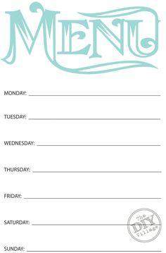 Dinner Planner Template | Printable Menu Template To Make The Planning Of Next Week S Dinner