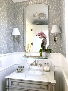 Classical Casual Home – Beautiful New Powder Room with linen wrapped walls and wide bead board