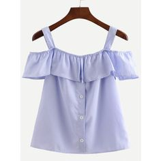 SheIn(sheinside) Blue Straps Vertical Striped Ruffle Shirt