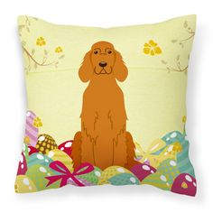 Carolines Treasures Easter Eggs Irish Setter Square Polyester Canvas Decorative Outdoor Pillow - BB6064PW1414