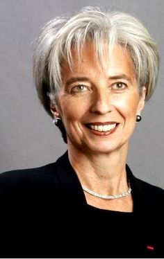 Christine Lagarde Head of the IMF - stunning gray hair and a tan