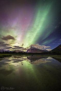 Aurora Borealis at Vermilion Lakes, Banff National Park, Alberta, Canada.