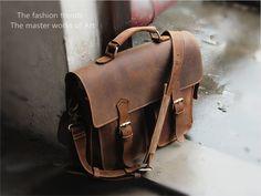 "Vintage Leather Briefcase / Messenger / Satchel / 13"" MacBook Air/Pro 13"" Laptop Bag"