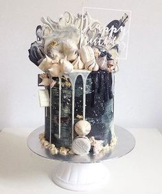 And here's another monochrome cake! Apologies for the slight delay on our April series! Designs will be released tomorrow! and don't forget to turn us on for post notifications! Pretty Cakes, Beautiful Cakes, Amazing Cakes, Drippy Cakes, Pasteles Halloween, 21st Cake, Gateaux Cake, Plum Cake, Cakes For Men