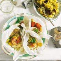 "Fisch ""al cartoccio"" mit Oliven-Kartoffel-Stampf"