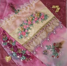 Linda has created a beautiful block for our 2009 wall hanging.  We are working in pink this year and roses will be our theme.  This block is absolutely perfect and the work so delicate.    This is the first block for 2009 and we have 17 other fabric artists participating.