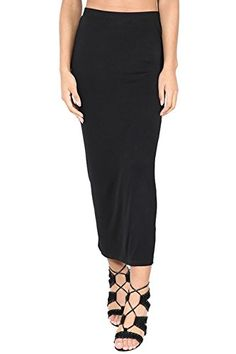 Womens Ladies Plain Stretchy Pencil Tube Bodycon Long Line Jersey Midi Skirt ** Read more reviews of the product by visiting the link on the image.