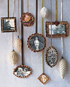 Homemade Pine Cone Picture Frame Ornaments to hang on a Christmas tree or make a nice keepsake wall display. Description from pinterest.com. I searched for this on bing.com/images