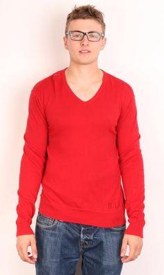 Ralph Lauren Chaps Mens XL Jumper Red Sweater Zip Neck Cotton ...
