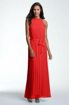 Pleated Chiffon Maxi Dress | Donna Morgan Pleated Halter Chiffon Maxi Dress in Red (fire) - Lyst