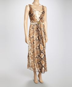 Gold Snakeskin Sleeveless Surplice Dress #zulily #zulilyfinds