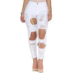 Hot Style Women High Waist White Denim Pants Popular Street Stylish Plus Size Ripped Holes Skinny Jeans W2877 #Affiliate