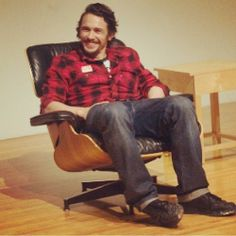 Starting the New Year off right: @jamesfrancotv in #eameslounge.  #hermanmiller #eames #james Franco